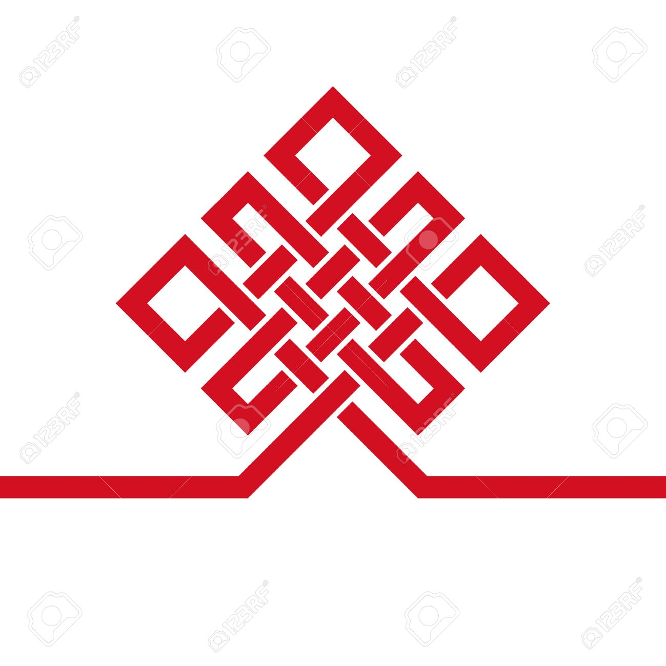 Endless Auspicious knot.China,Tibet Eternal , Buddhism and Spirituality icon,symbol.Vector Black sign,card template .Feng Shui traditional element,geometric ornament. - 53460593