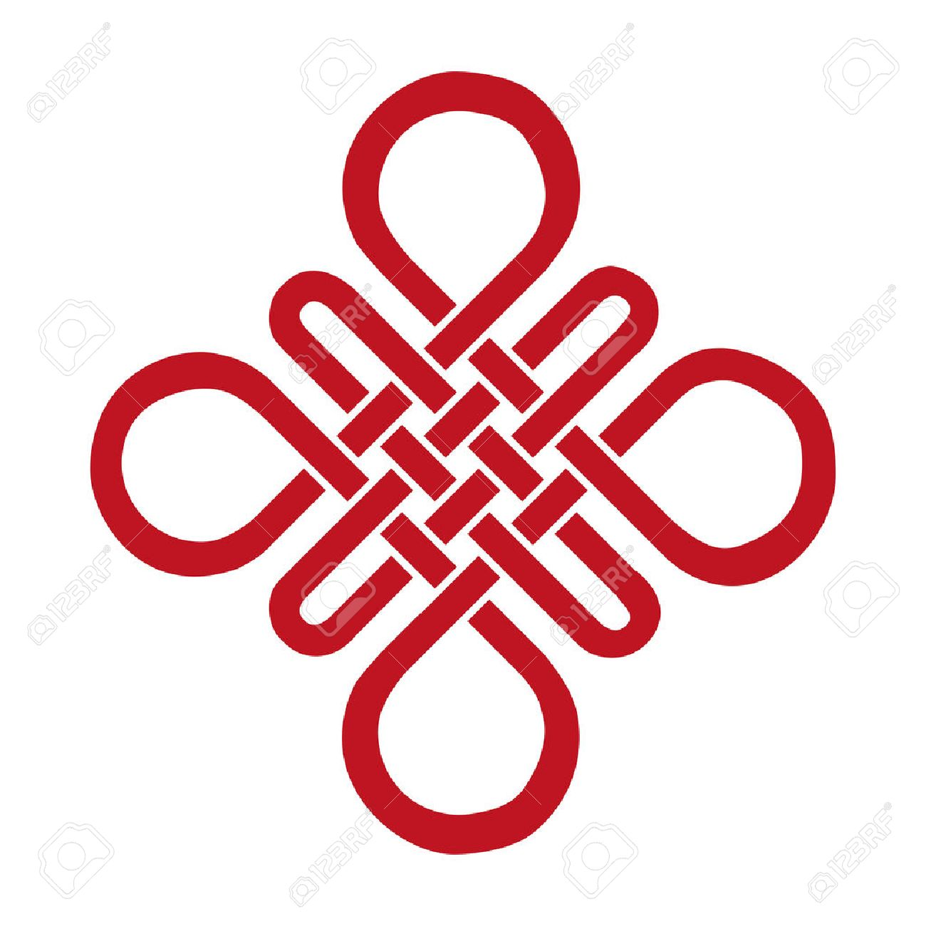 Endless Auspicious knot . China,Tibet, Eternal , Buddhism and Spirituality icon,symbol.Vector red sign.Feng Shui traditional element,geometric ornament. - 53460594