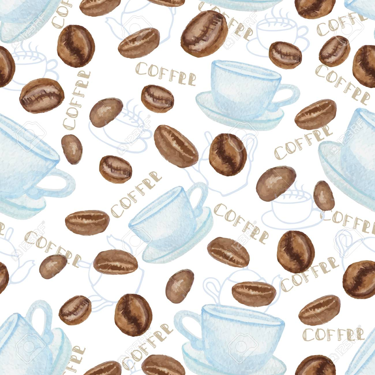 Watercolor Coffee Beans And White Cup Seamless Ornamentpattern