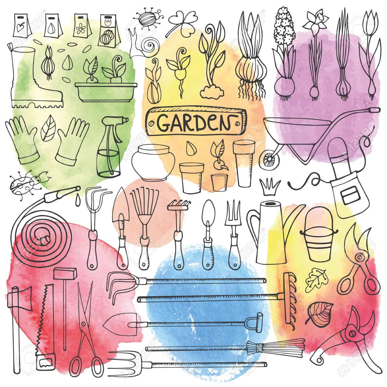 Spring garden sethand drawn vector sketch elementsbulbos spring garden sethand drawn vector sketch elementsbulbos garden tool biocorpaavc