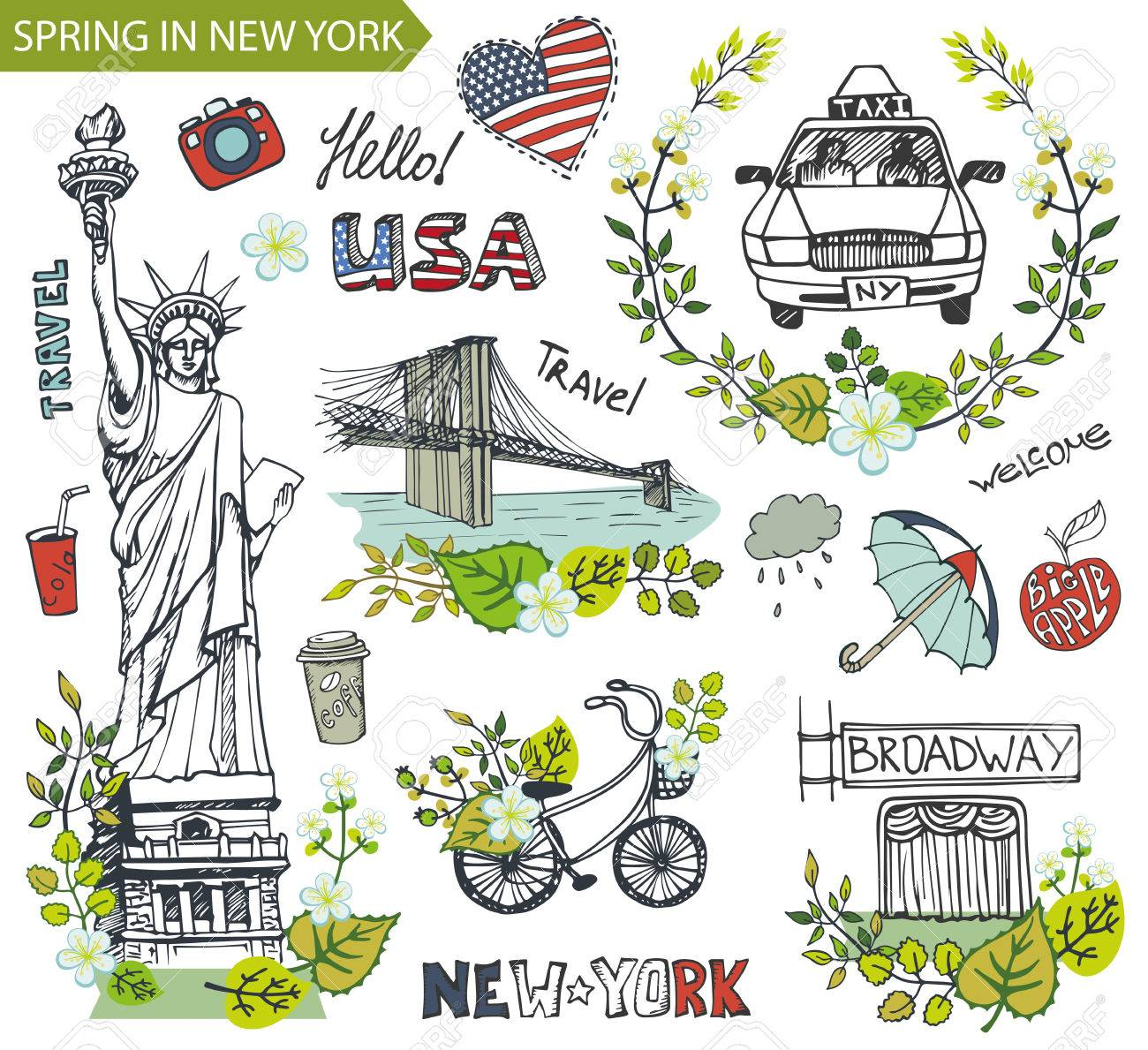 Spring in new yorkusafloral decorctor doodleserican travel spring in new yorkusafloral decorctor doodleserican travel symbols buycottarizona Image collections