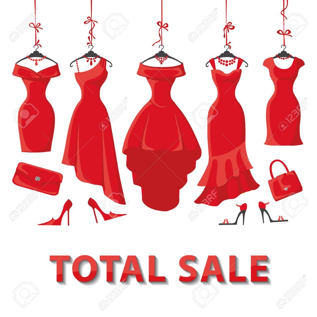 rote frau kleider auf einem aufhänger und mode-accessoires set.summer  verkauf partei. kurze und lange elegantes design dame kleid, handtaschen,  schuhe