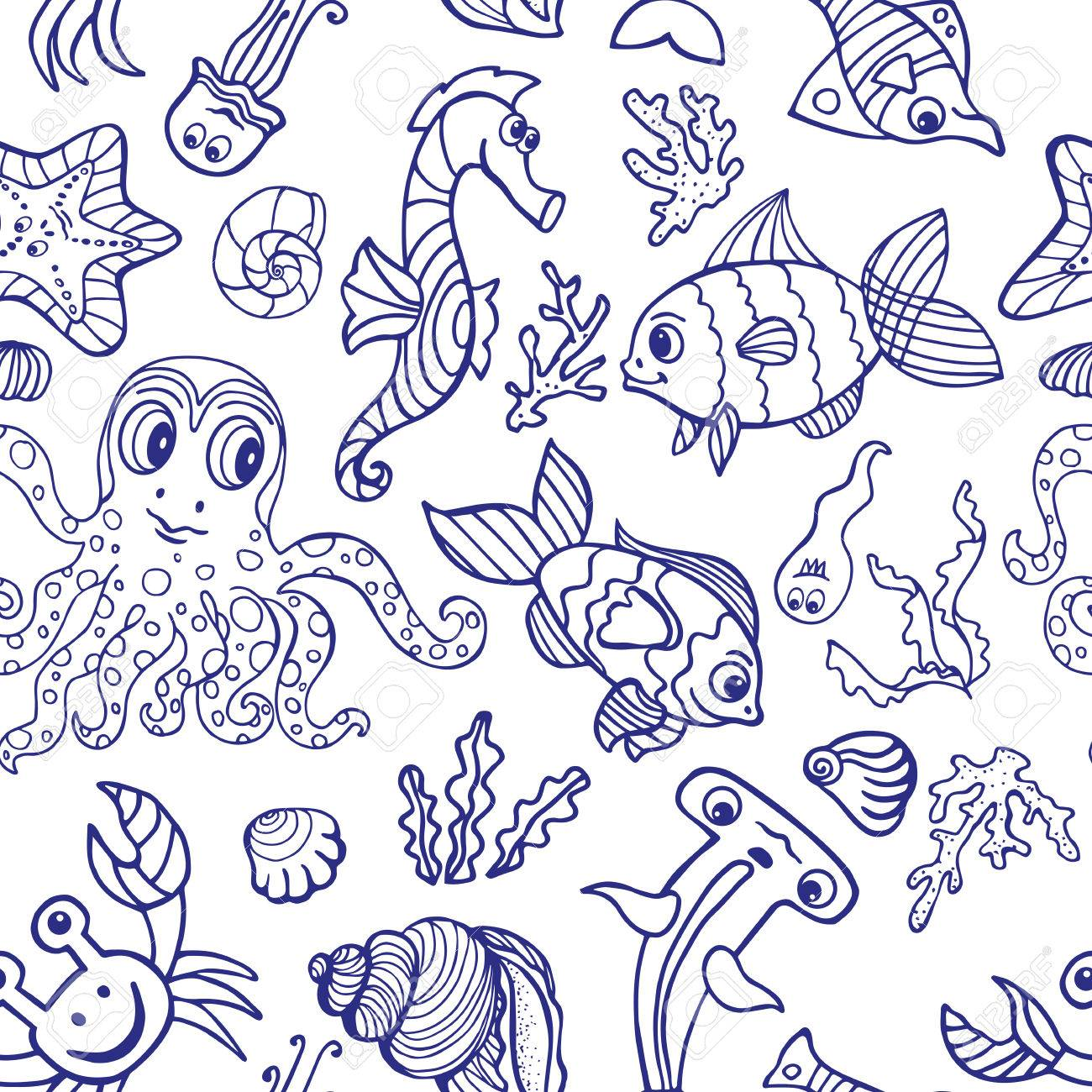 Sea Life Poissons Animaux Seamless Doodle Cartoon Background Funny Monde Sous Marin Bébé Dessin Voyage Linéaire Vector Summer Toile De Fond
