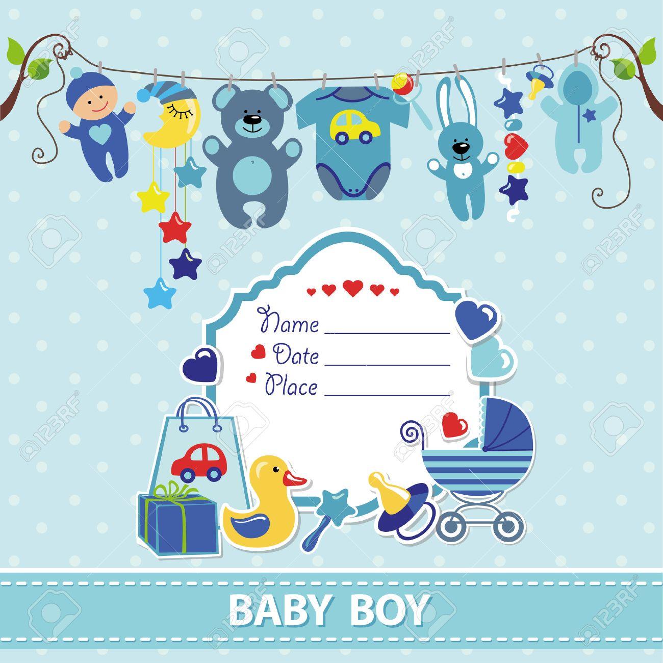New born Baby boy invitation shower card.Flat elements hanging on rope,label,stork.Vector scrapbook decor.Greeting pstcard.Blue,cyan colors,polka dot background.Design template. - 54430771