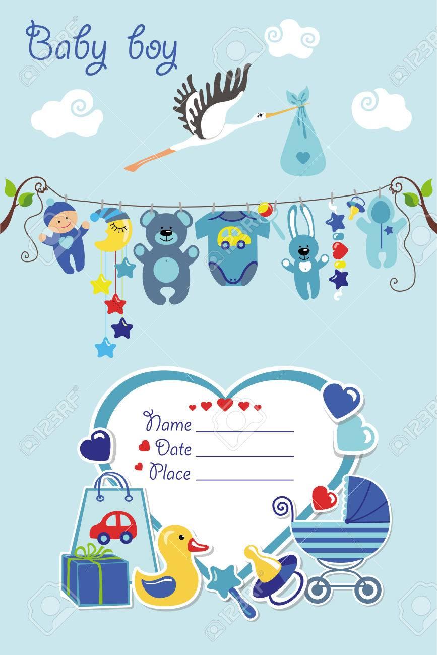 Neugeborenes Baby Einladung Dusche Card.Flat Elemente Am Seil ...