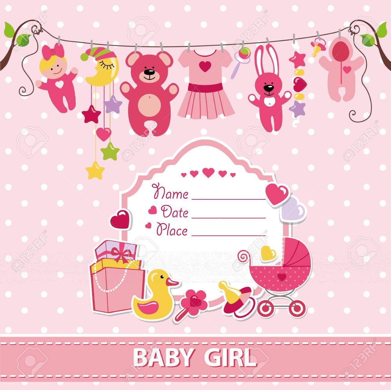 new born baby girl invitation shower cardflat elements hanging on ropelabel