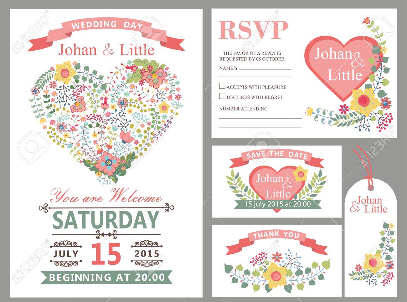 Hochzeit Design-Vorlage Mit Blumen, Rosa Herzen, Rahmen, Band Und ...