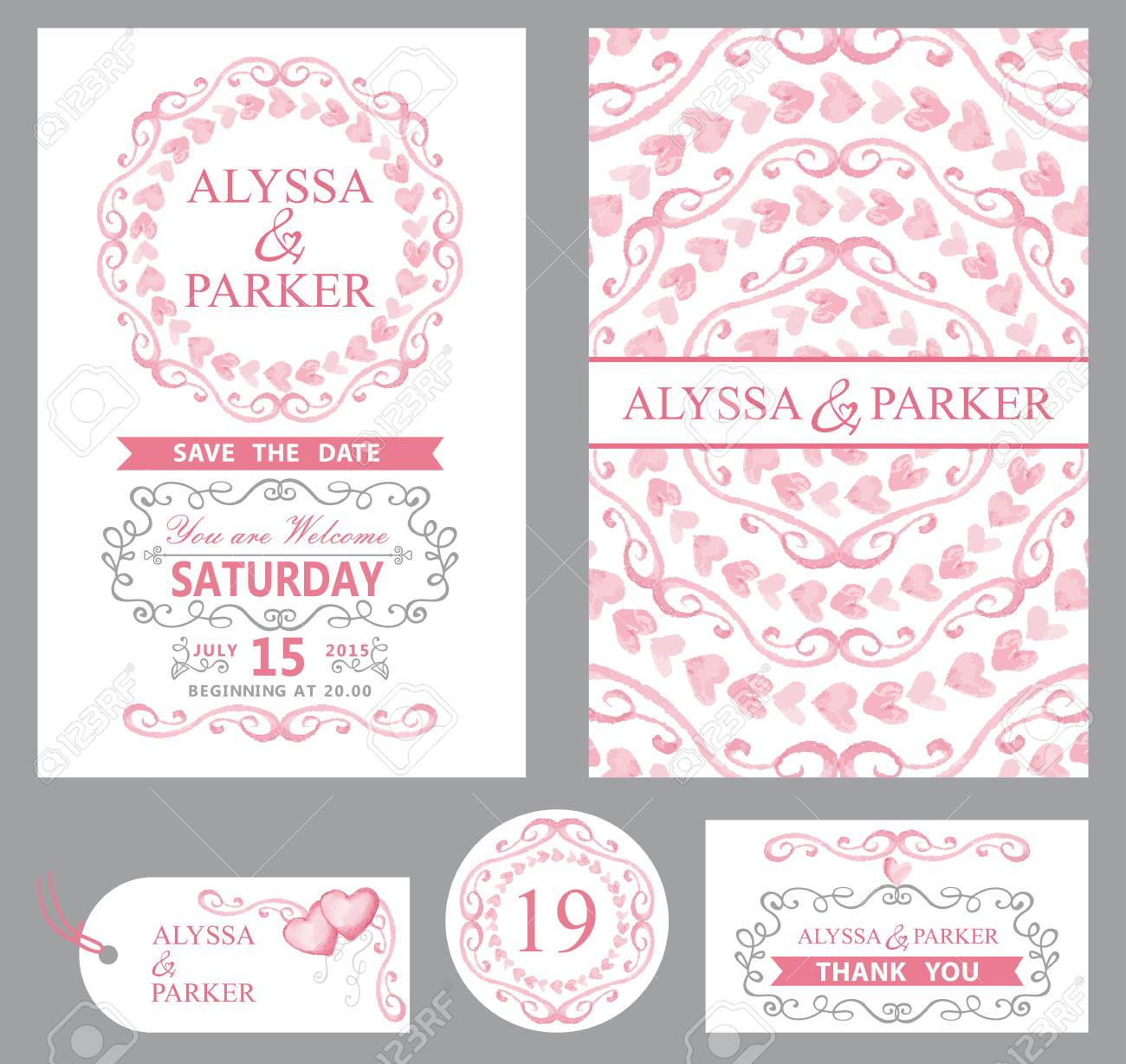 Wedding Invitation Card Set.Watercolor Pink Hearts,swirls, Ribbons ...