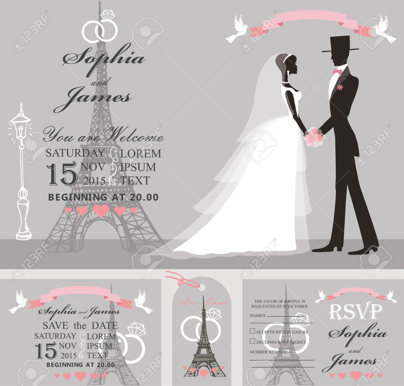 wedding design template set bride in white dress and groom eiffel