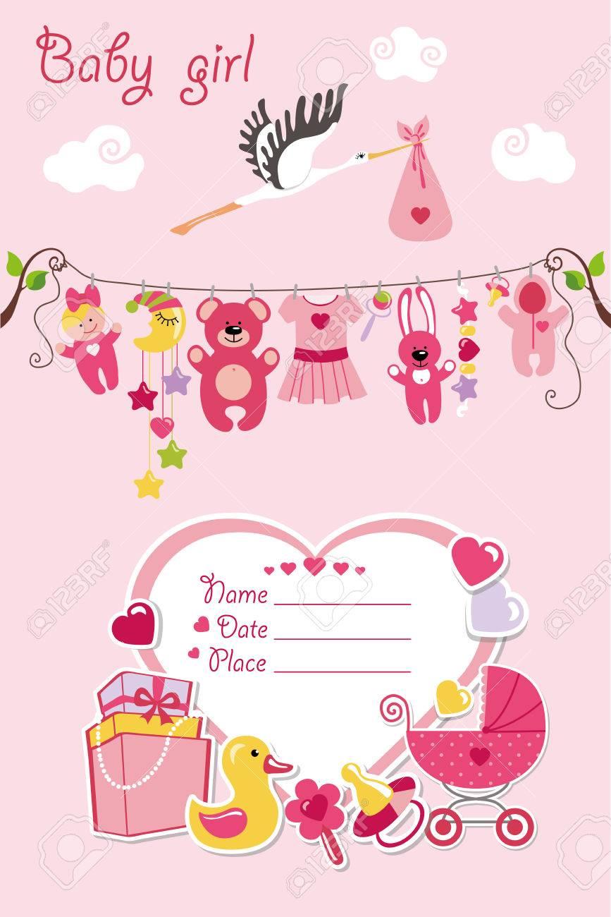 New Born Baby Girl Invitation Shower Cardflat Elements Hanging
