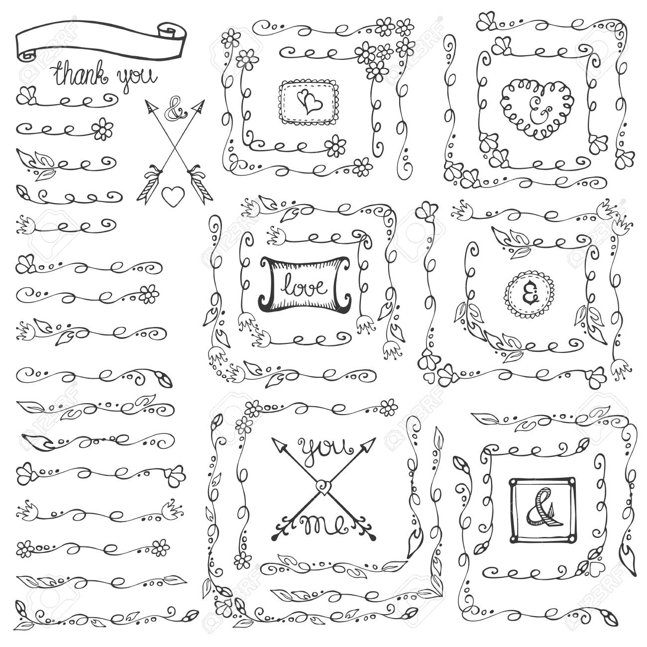 Doodles linear borderdividersframes and cornersflourish decor vector doodles linear borderdividersframes and cornersflourish decor setr design stopboris Image collections
