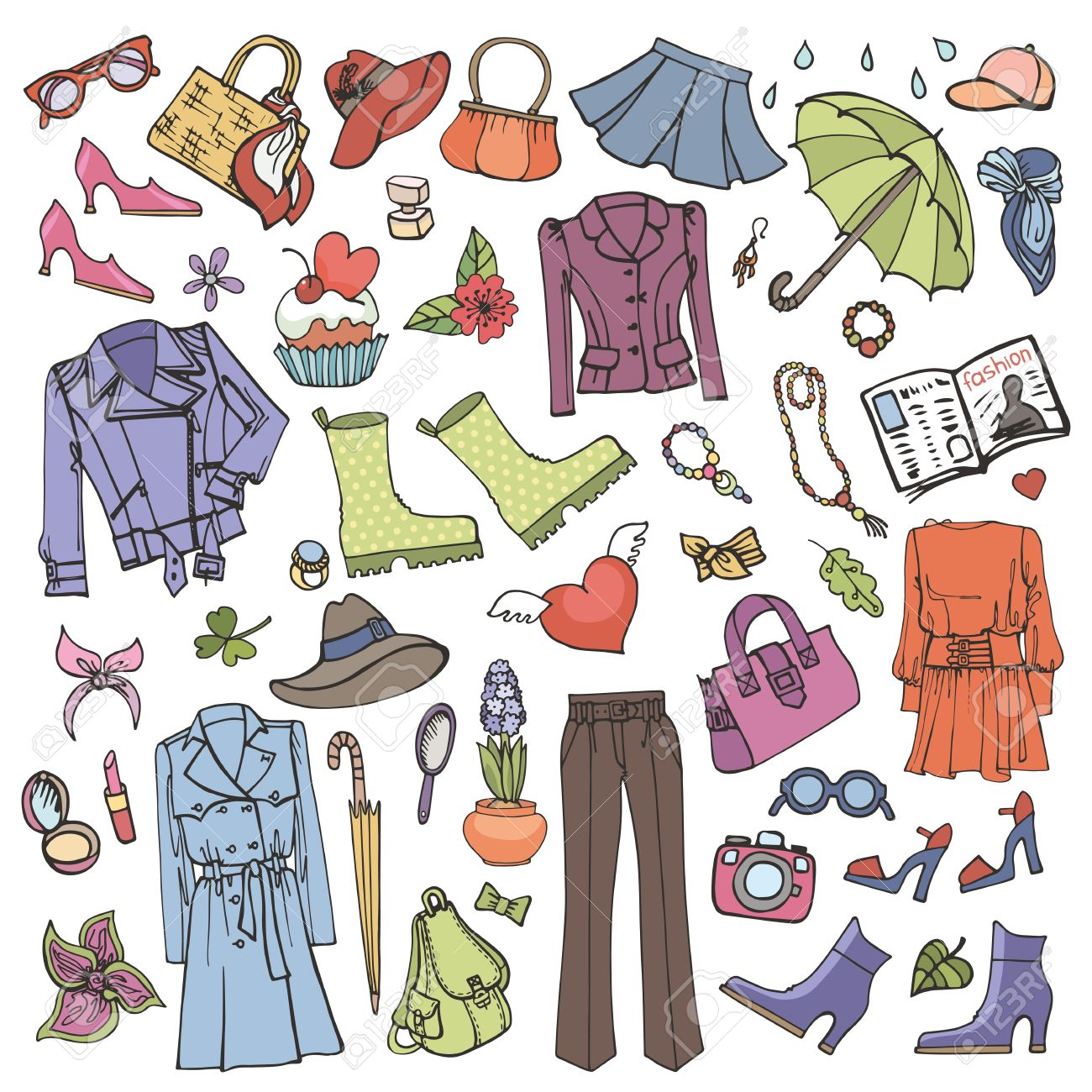 1681f4639ef1 Spring fashion set.Vector hand drawing womens clothing,doodle sketch.Women  wear,