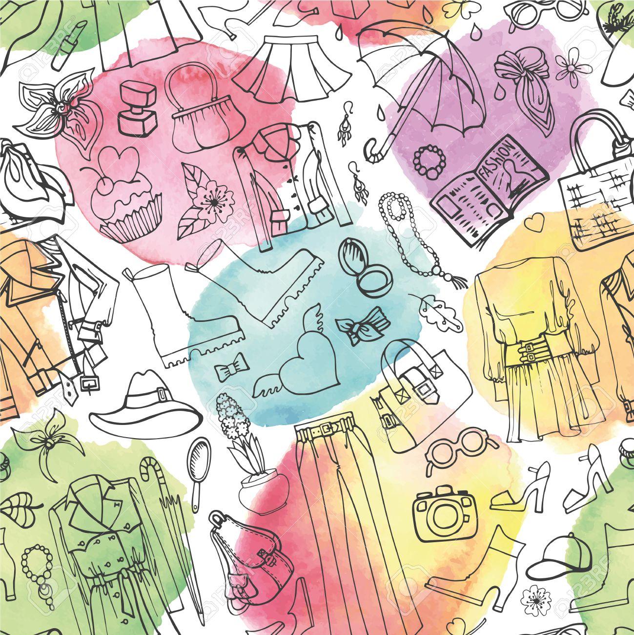 La Mode De Printemps Pattern Vector Transparente Des Femmes De Dessin A La Main Des Vetements Griffonnage Croquis Elements Background Watercolor Splashes Women Wear Outline Pour Le Printemps Season Fashion Illustration Fond D Ecran Clip Art Libres De