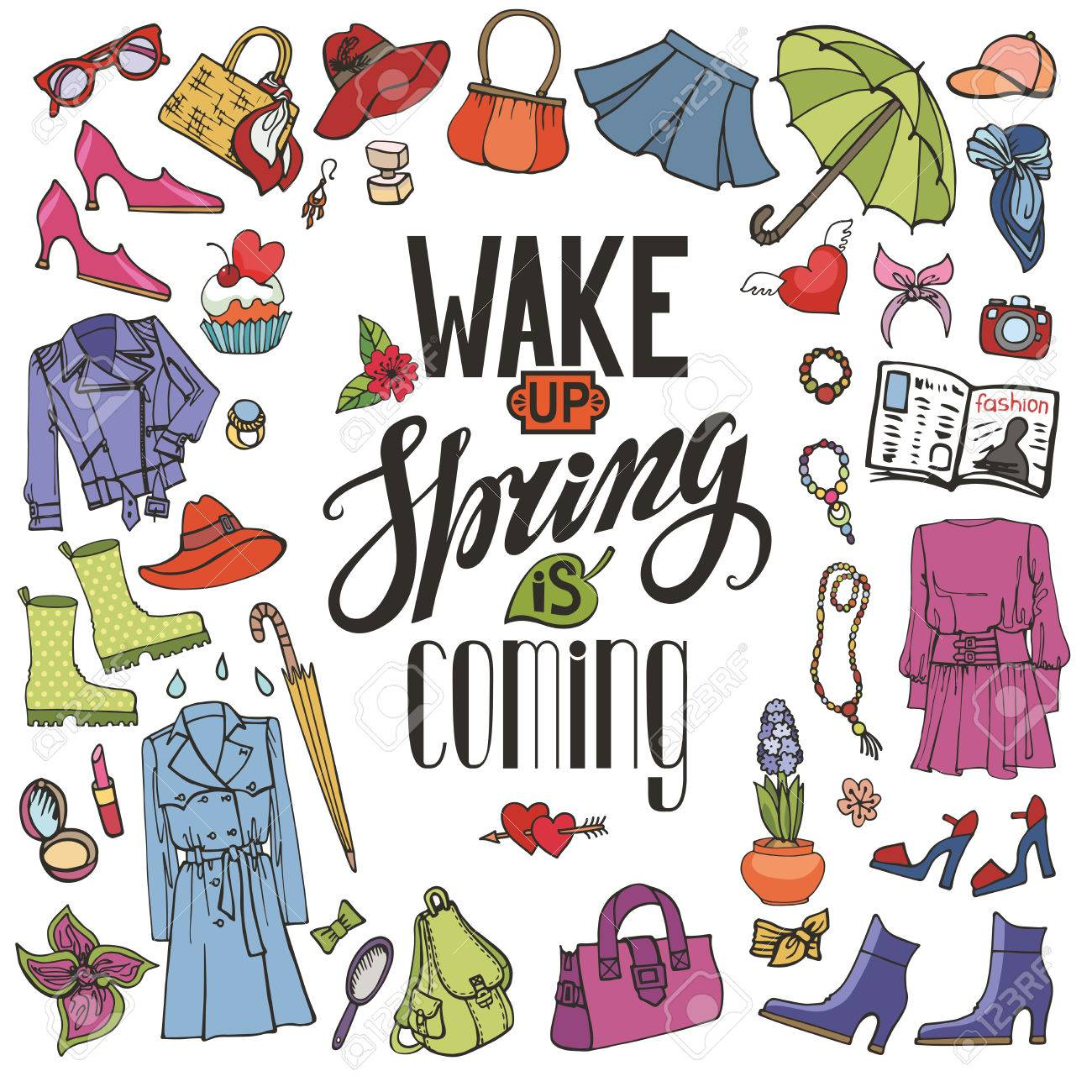 Spring fashion with lettering. Wake up. spring is coming.Vector..