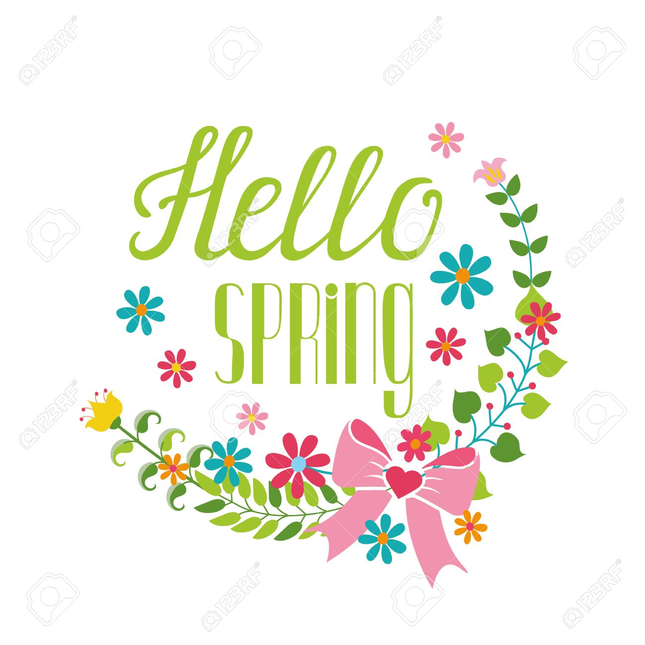 spring season decoration vector cartoon flower wreath lettering
