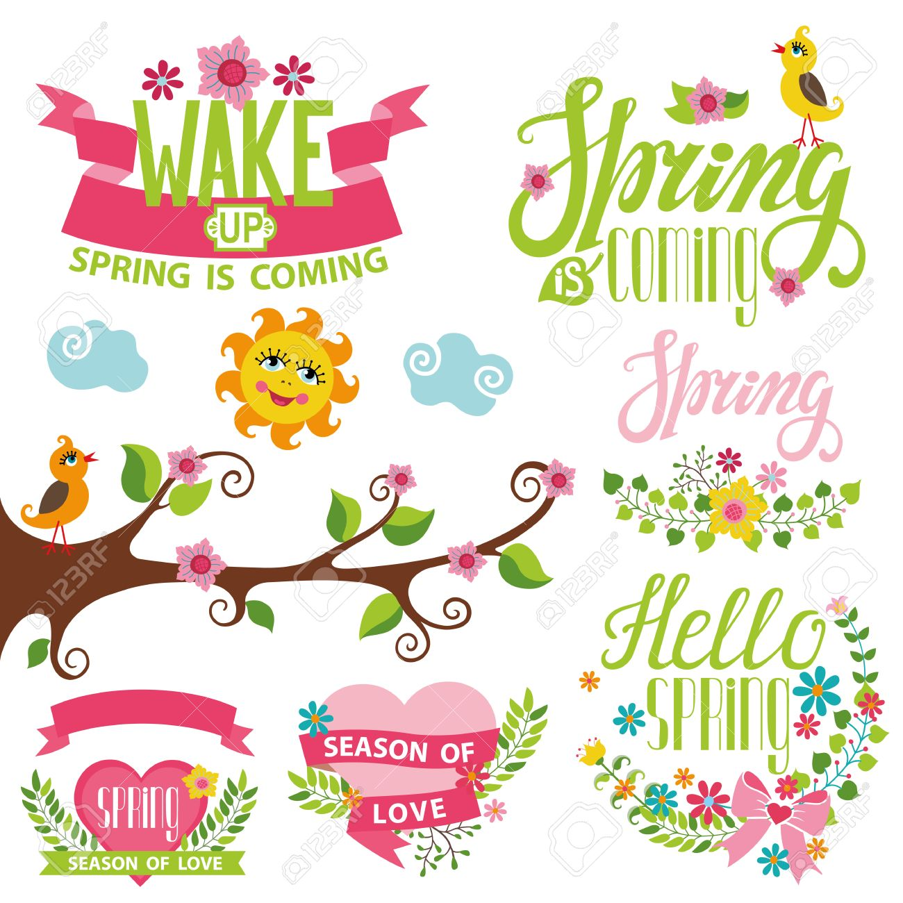 Spring Season Decoration Set Vector Cartoon Elements Bird Flowers