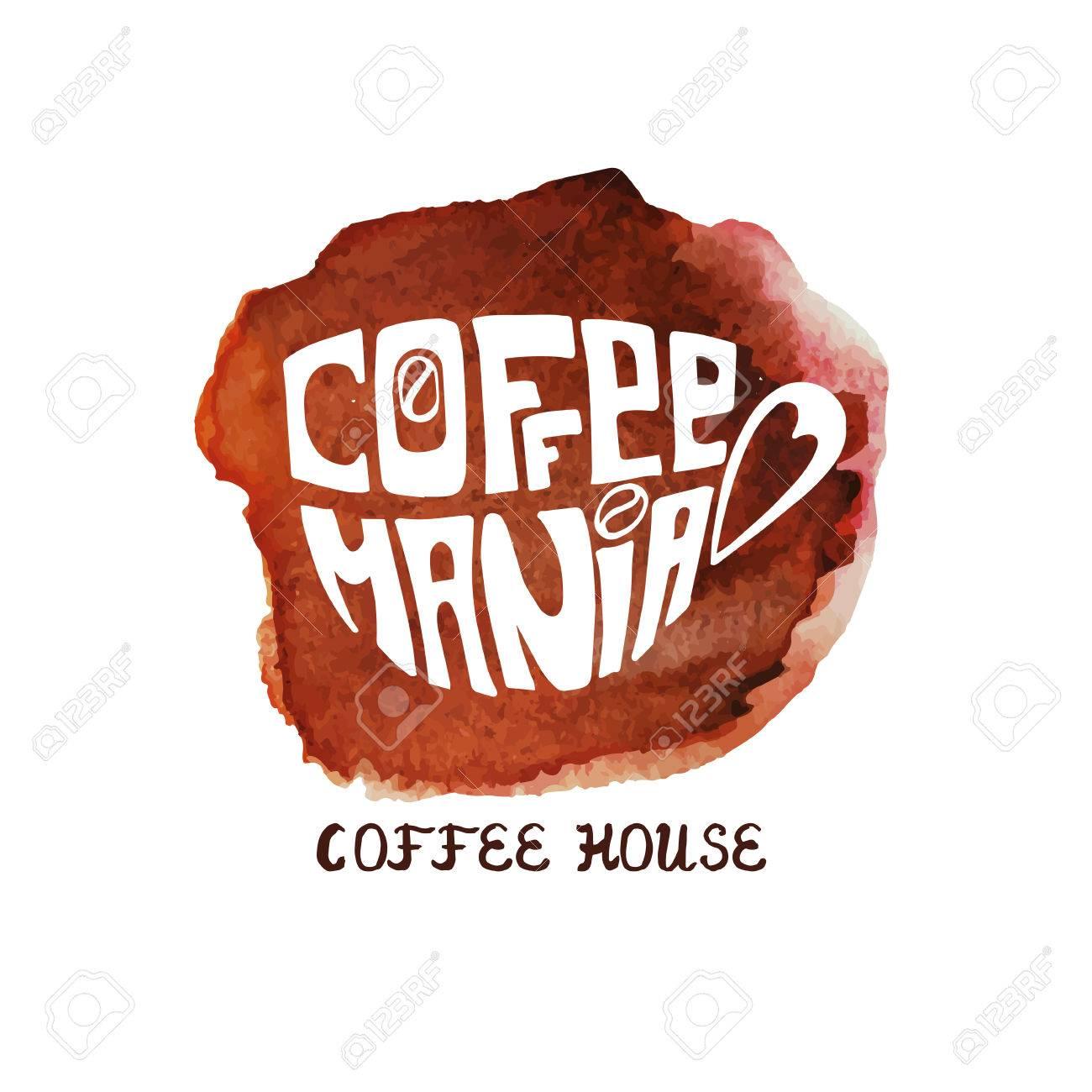 水彩のスプラッシュとコーヒーのカップをベクトルしますcofemania を