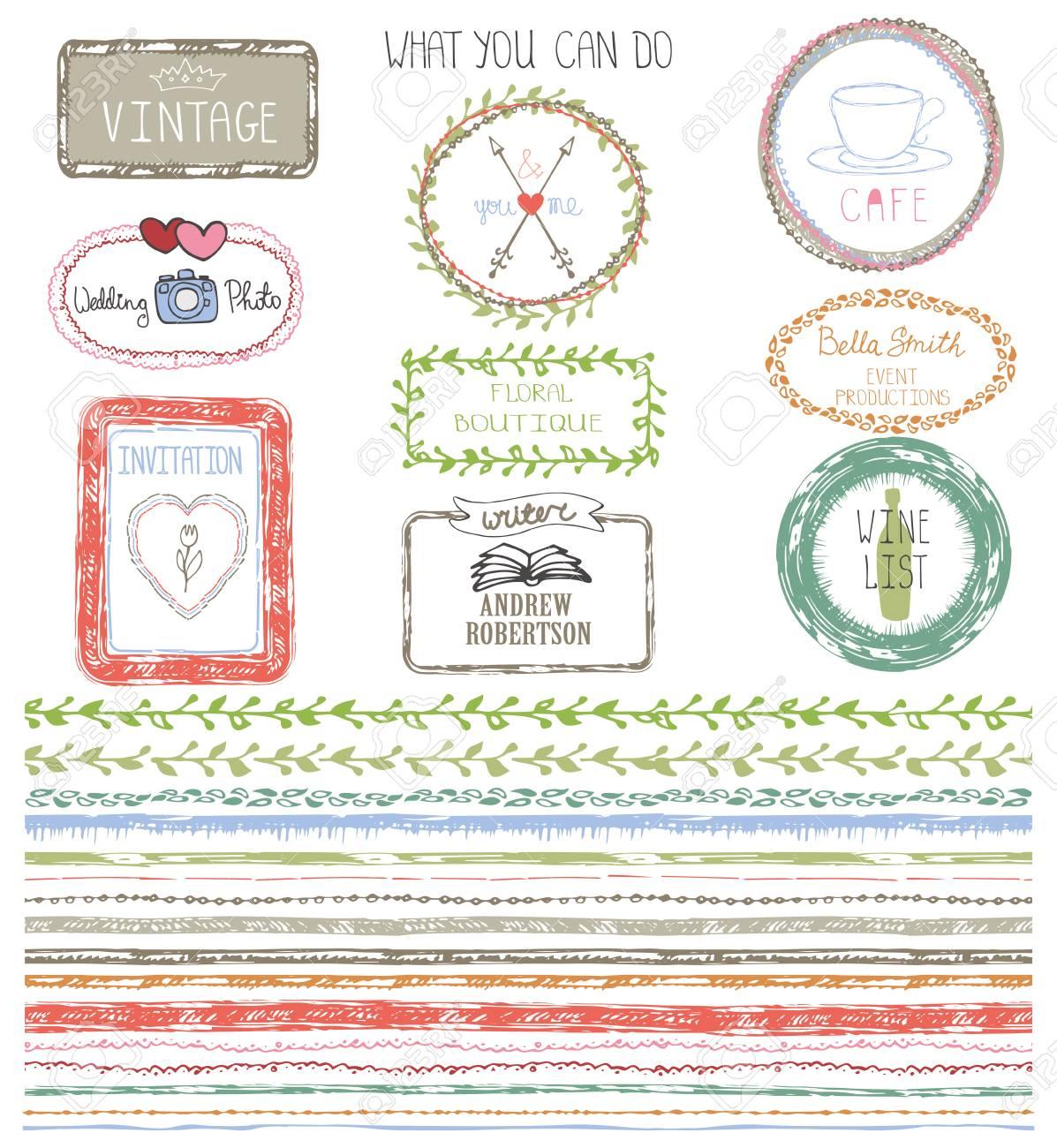 Frontera De Línea Dibujada Mano Con Marco De Ejemplo Tarjeta De Invitaciones Patrón Transparente Ornamento Decoración De Color Doodle Para