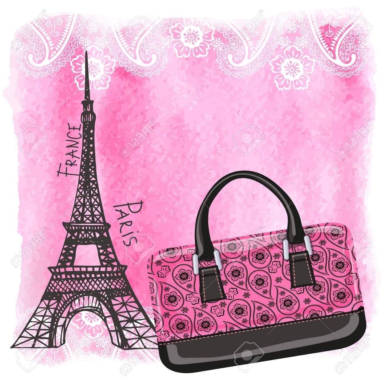 De Splash Aquarela artistic Texturizado Com Illustration Torre E Background gorgeous EiffelMarco Bolsa Da ParisPadrão Vector Paisley Forma jq4c3ARL5