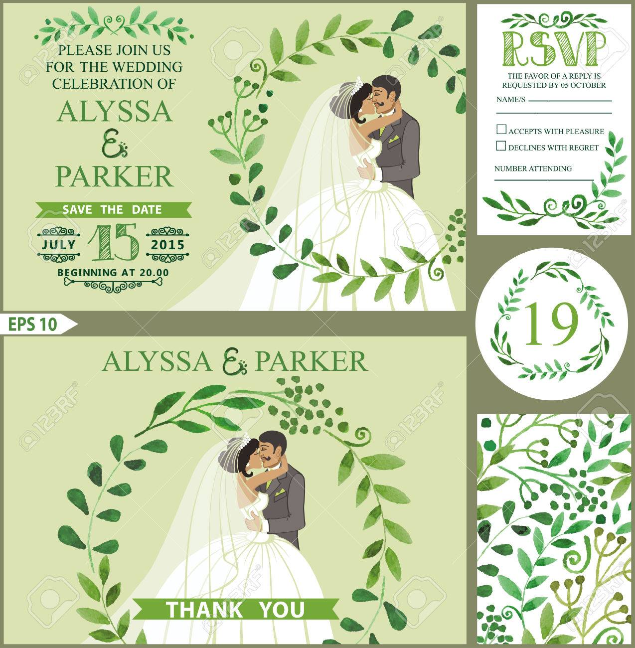 Wedding Invitation Set.Watercolor Green Branches With Kissing ...