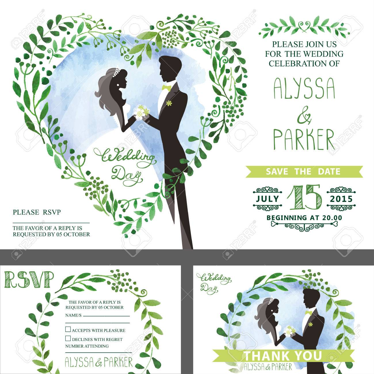 Wedding Invitation Set.Watercolor Green Branches With Couple ...