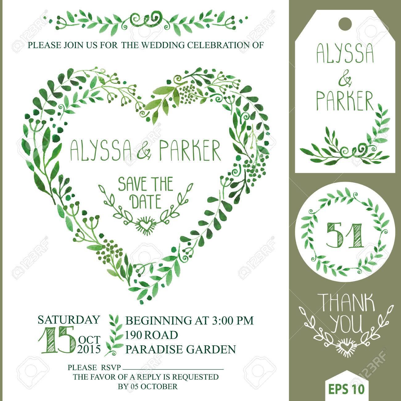 Wedding Invitation Design Template.Watercolor Green Branches ...