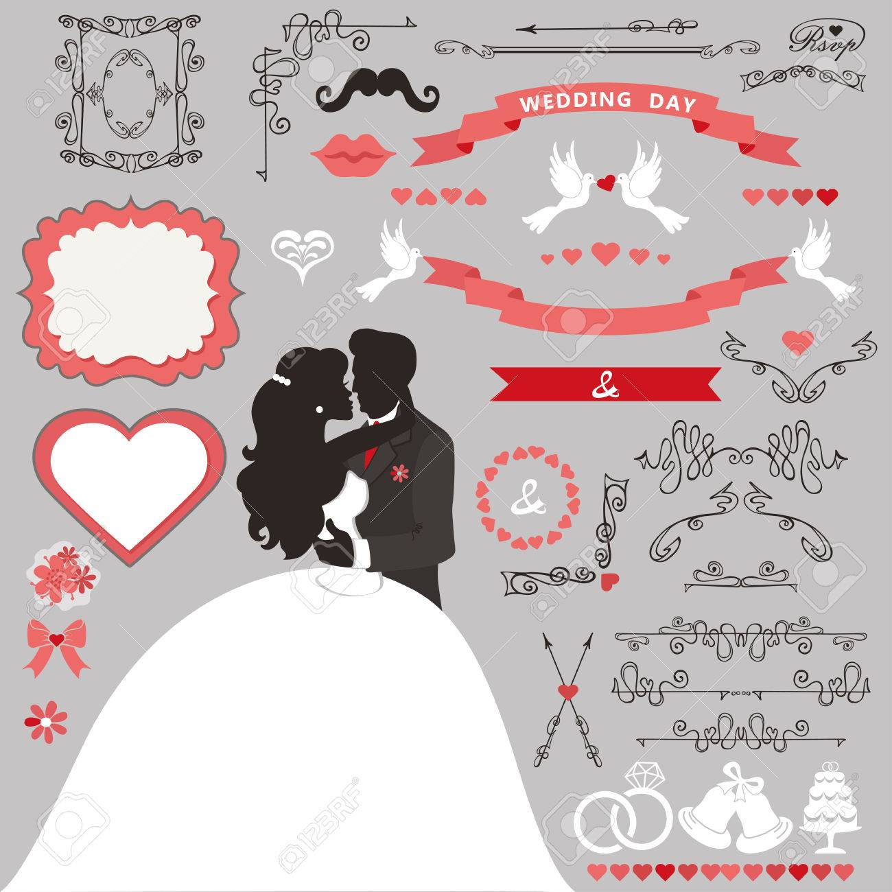 Wedding Invitation Card Decor Set.Cartoon Kissing Couple Bride ...