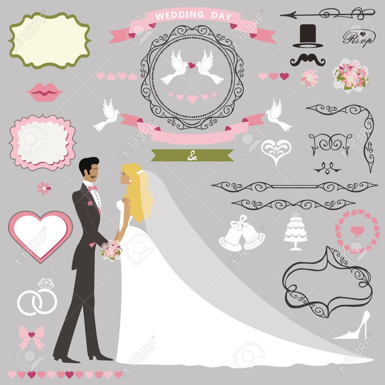 Wedding Invitation Card Decor SetCartoon Couple Bride And Groom