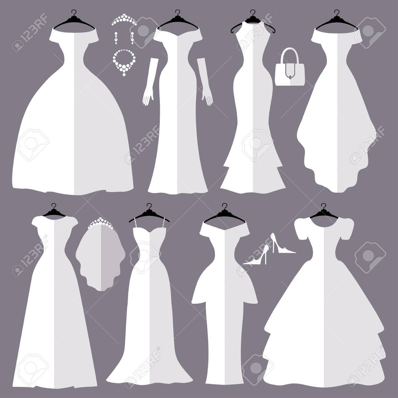 flat iconsfashion bride dress made in modern stylewhite dress accessories set silhouetteholiday vector backgroundbridal shower composition