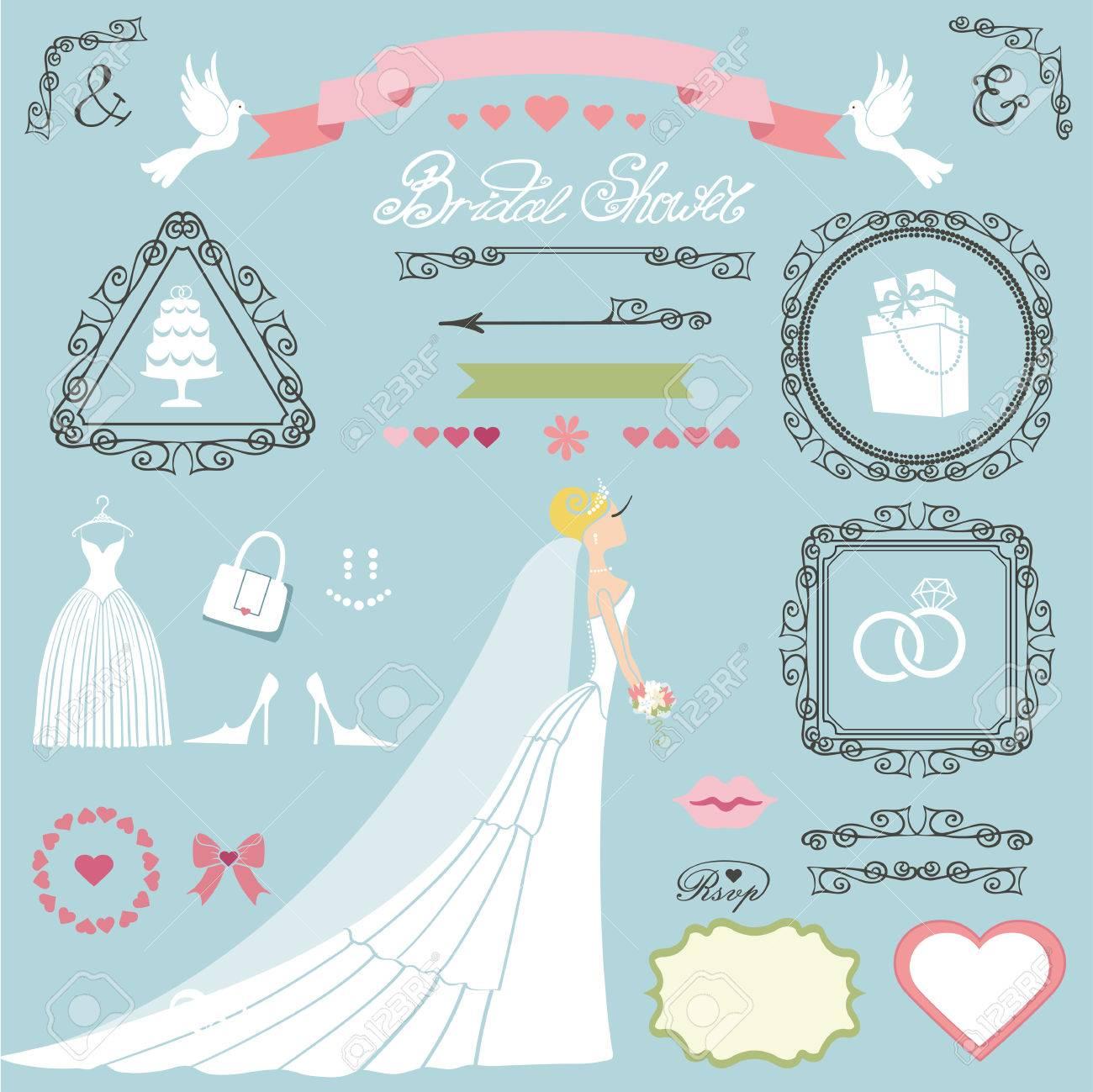 wedding bridal shower decor setbride in long dressswrling bordersframes