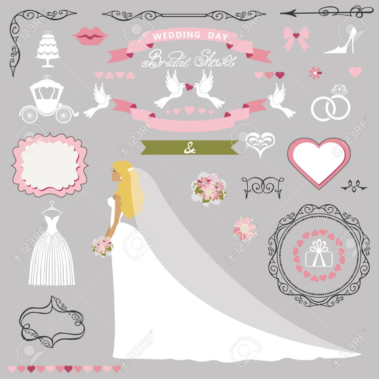 Wedding Bridal Shower Invitation Card Decor Set Cartoon Bride In Long Dress Swirling Borders Frames Ribbon Flowers Icons Heart And Label Design