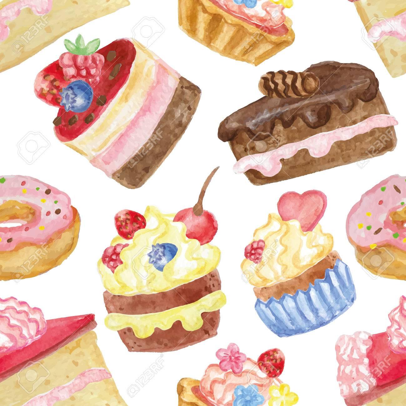 Watercolor Sweet Cakescupcakesdonut Seamless Pattern Vintage