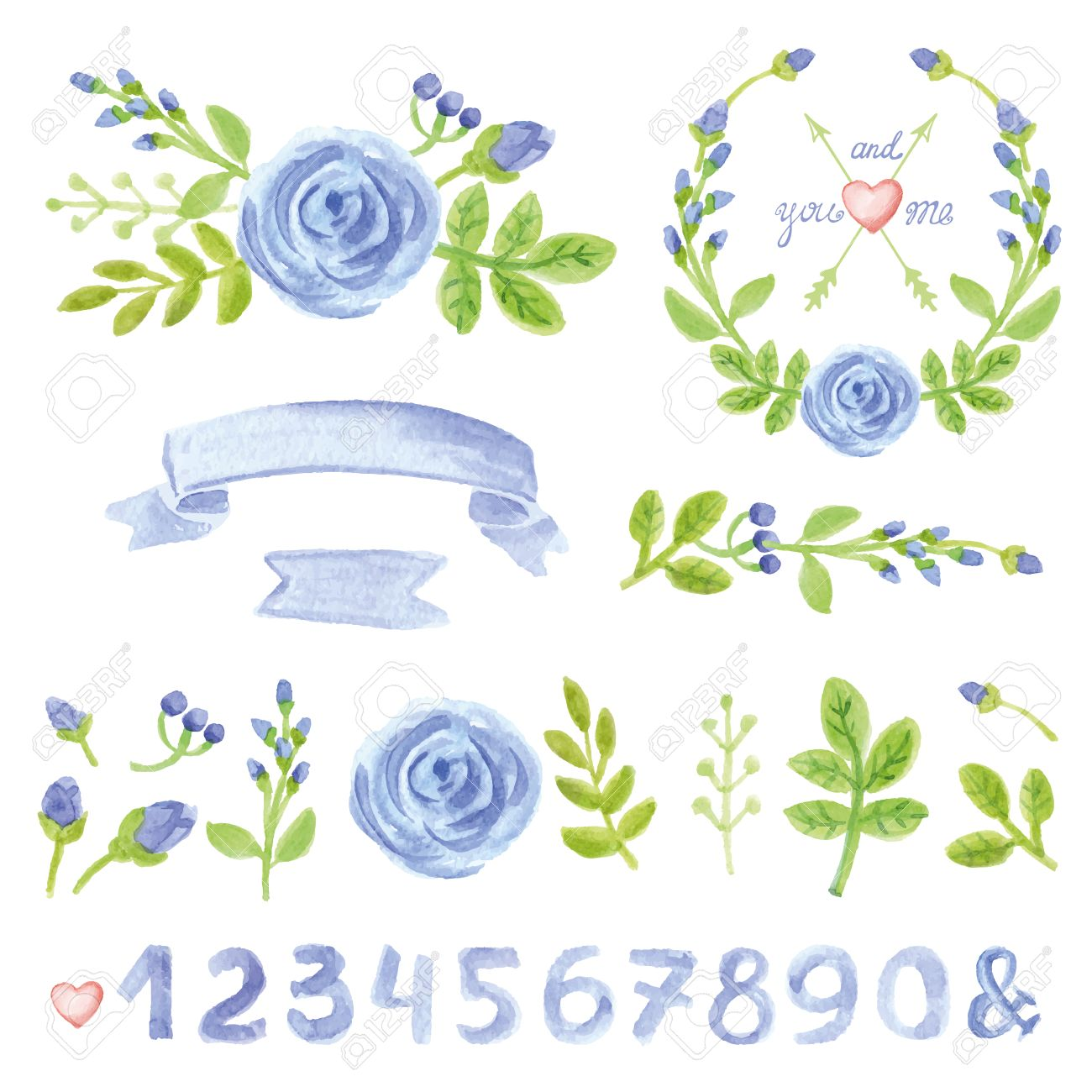Flores Azules De La Acuarela Verdes Ramas Hojas Coronas Y