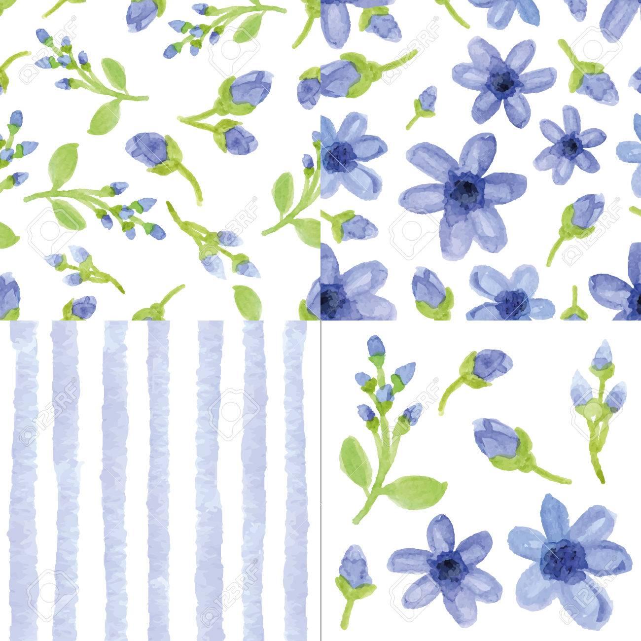 Acuarela Flores Azules Artisticas Bandas Ramas Florales Sin Patron