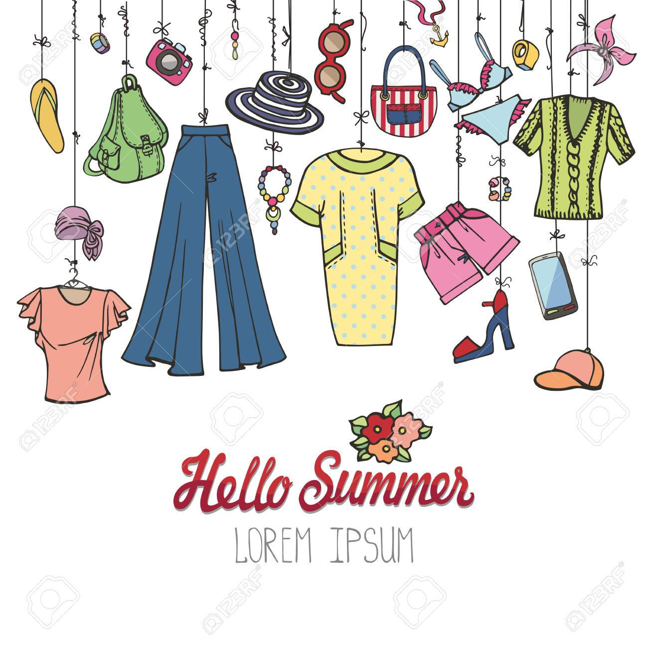 3a6ab1cca856 Fashion illustration.Summer vacation women wear.Vector hand drawn  fashionable clothes