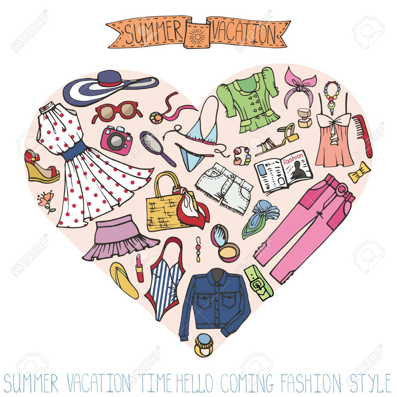 ee6610bf730f Summer vacation wear. Fashion illustration.Vector hand drawn fashionable  women clothes and accessories in heart composition. Isolated