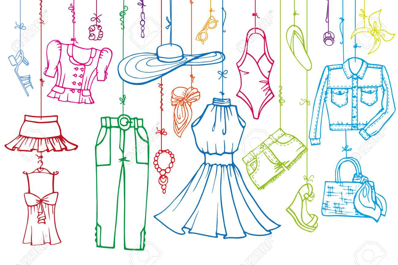 b789c83df340 Fashion illustration.Vector hand drawn fashionable women clothes and  accessories hanging on rope.Summer