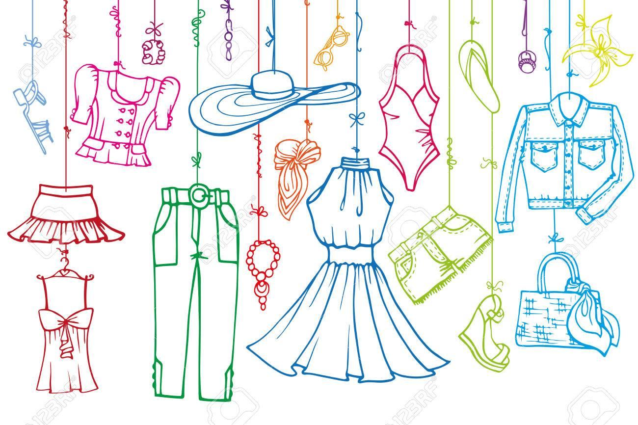 Fashion Illustration.Vector Hand Modische Frauen Kleidung Und ...