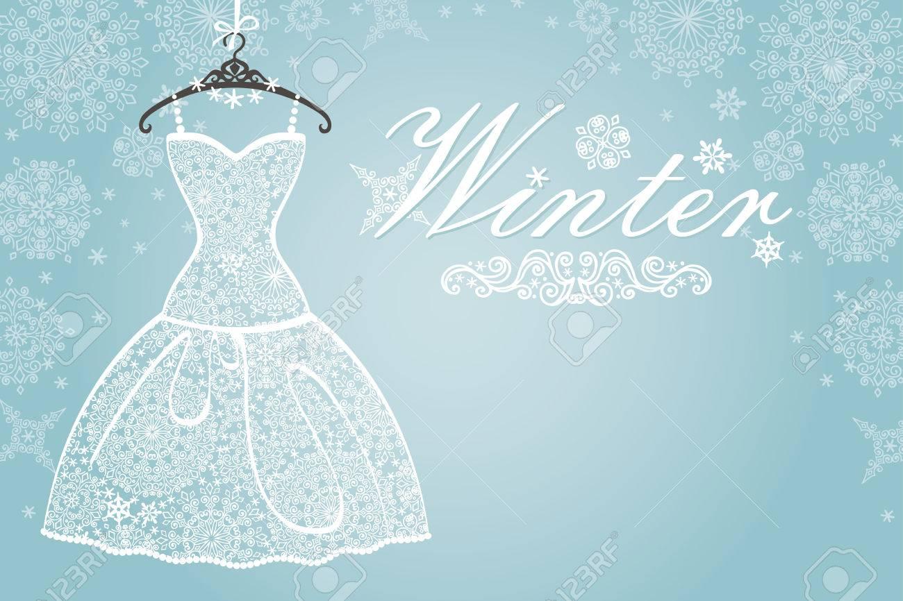 Bridal Shower Dresswinter Invitation Cardopenwork Wedding Dress
