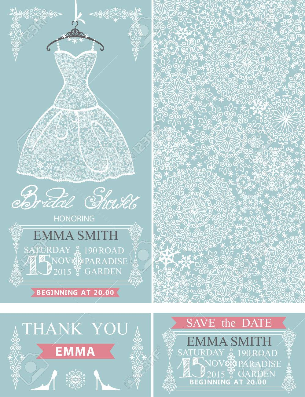 Bridal Shower Invitation Setbridal Wedding Lace Dresssnowflakes