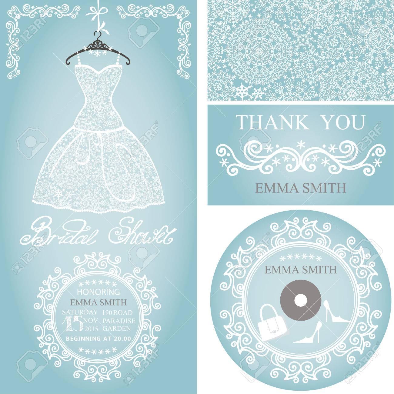 bridal shower dresswinter invitation card setopenwork wedding dressdecor elements