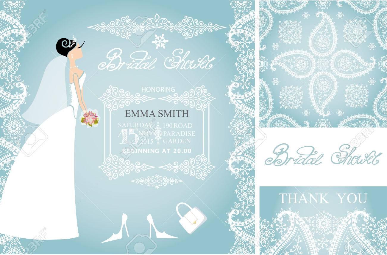 Wedding Bridal Shower Invitation Set.Beautiful Bride In Wedding ...