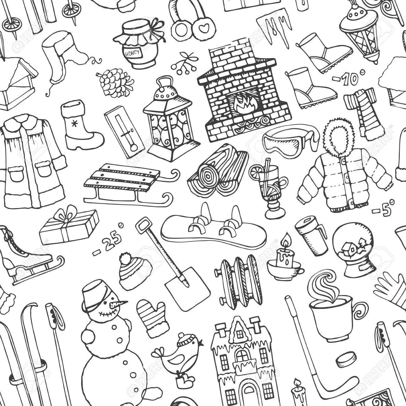Conjunto De Invierno Temporada Doodle. Símbolos De Navidad, Año ...