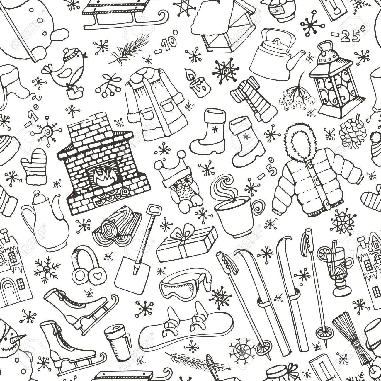 Winter Season Doodle Seamless Pattern. Knitted Wear,winter Sports ...
