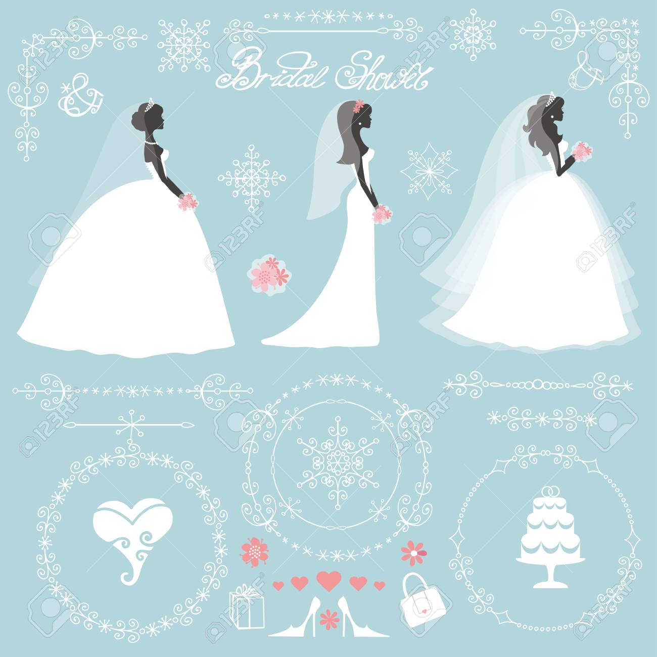 weddingbride in different dress stylewinter bridal shower decor setcartoon woman