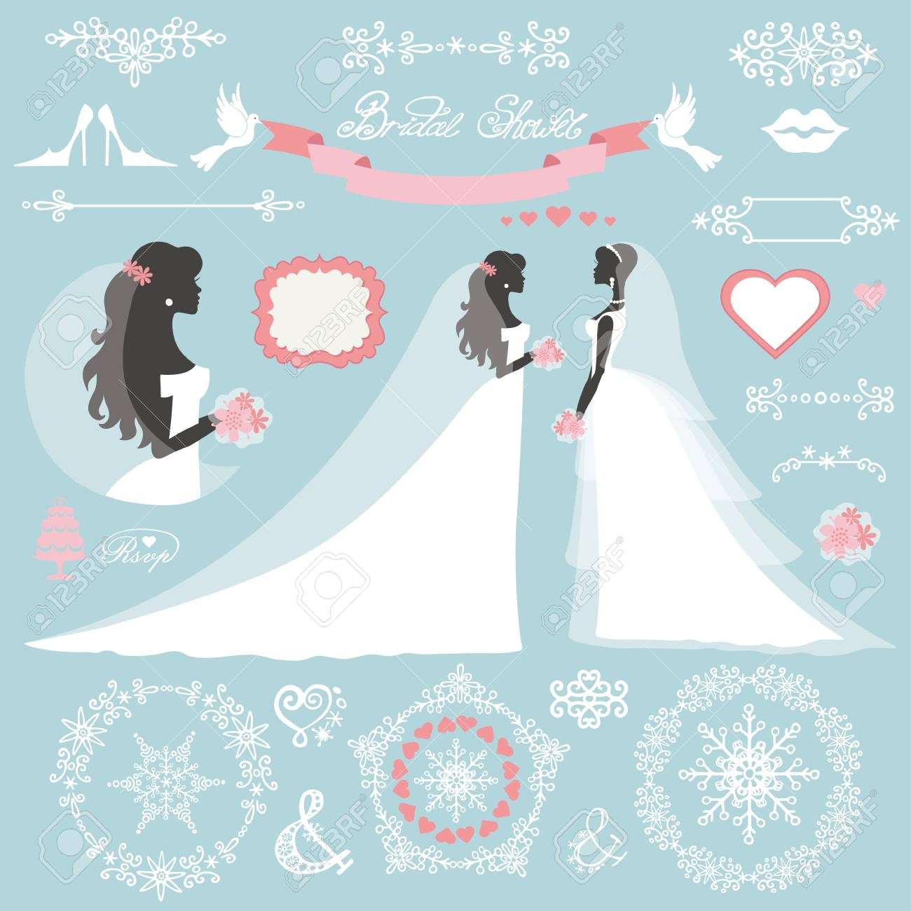 weddingbride in different dress stylewinter bridal shower decor set cartoon woman