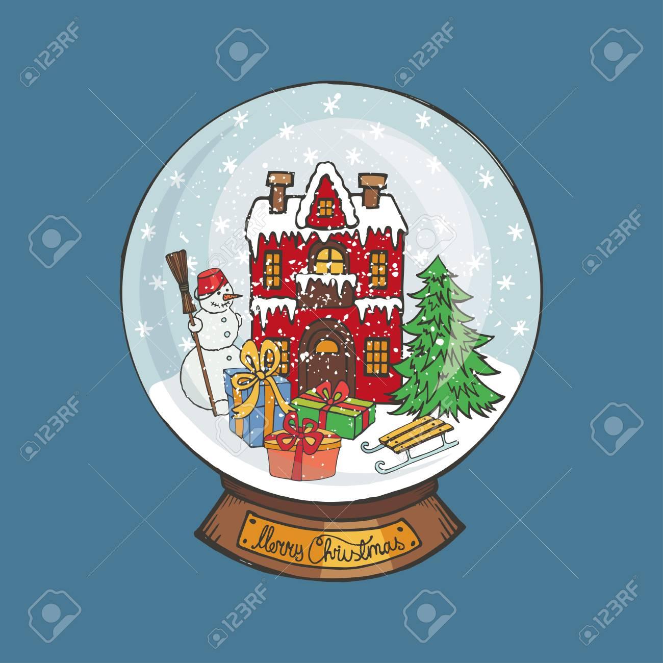 Joyeux noël globe de neige doodle petite maison et sapin bonhomme de neige des cadeaux sous la neige dessin nouvel an présente la main