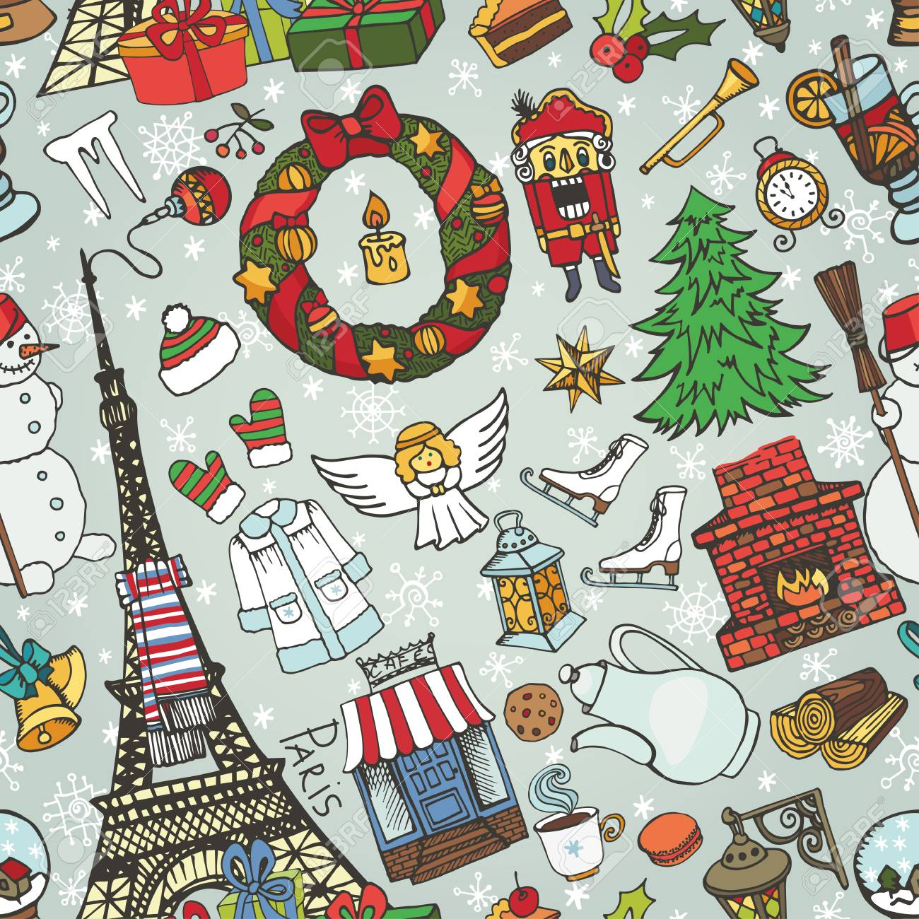 Paris Christmas Seamless PatternNoel Holiday Winter Doodle SymbolsEiffel Tower With Hand Drawing