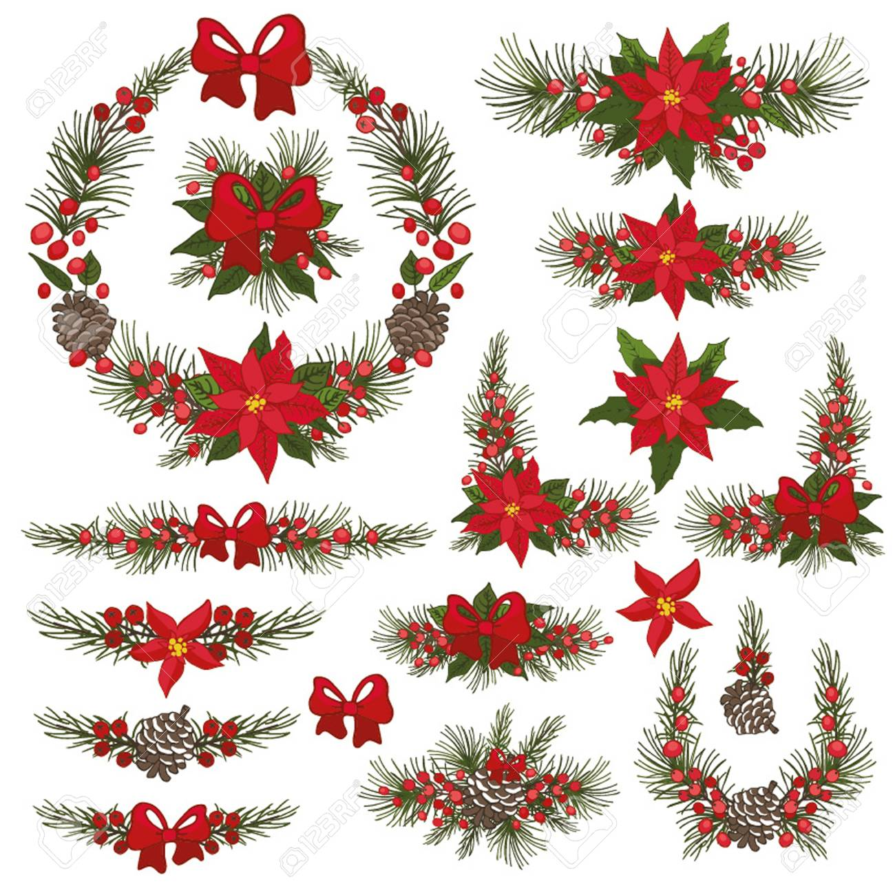 merry christmas and happy new year wreath groupbordermodern flat decor elements