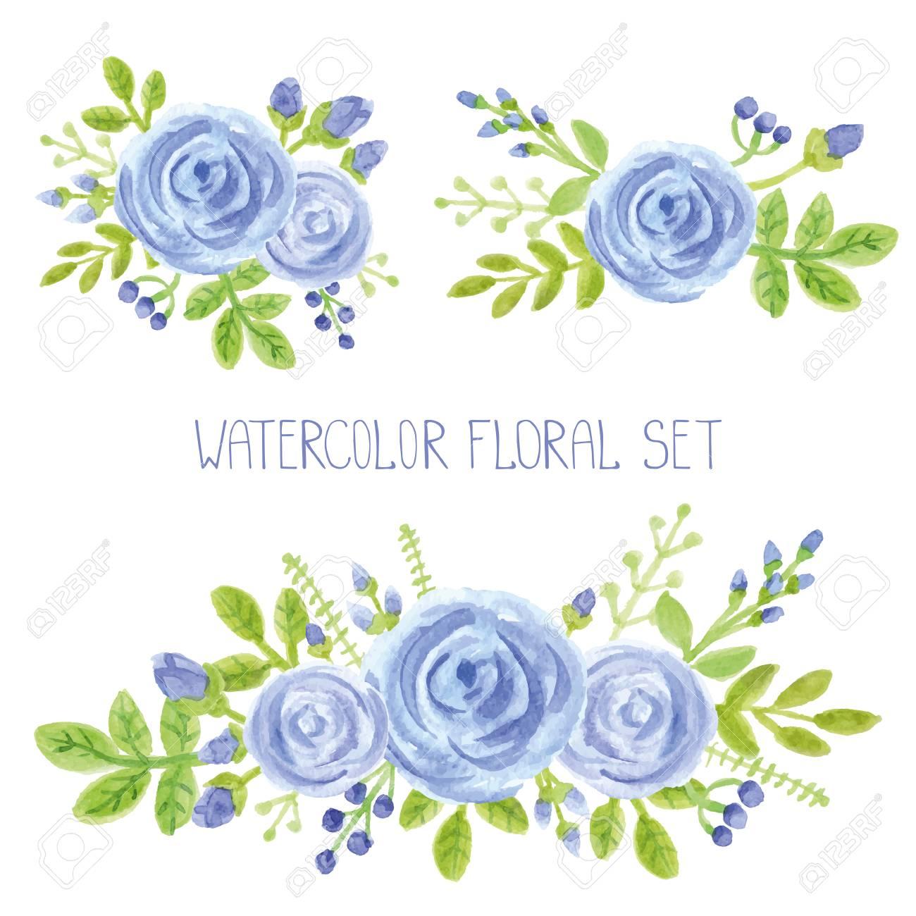 Flores Azules De La Acuarela Verdes Ramas Hojas Ramo Conjunto